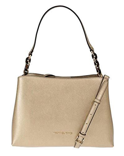 "Saffiano Leather, Golden Hardware Open top with strap fastening Interior Center zip compartment, 7 open slip pockets and 1 side zip pocket Shoulder strap with 9"" drop; Comes with Adjustable and Removable Shoulder Strap 12.5""(L) X 8.5""(H) X 5""(D)"