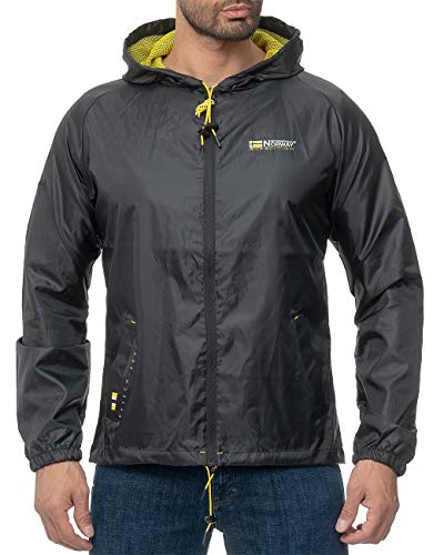 Geographical Norway Chaqueta impermeable con capucha para hombre Negro S