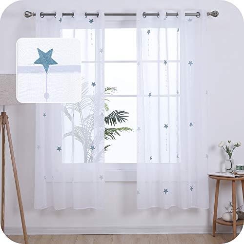 UMI. by Amazon Cortinas Salon Translucidas de Dibujos Lluvia de Meteoros con Ollaos 2 Piezas 140x175cm Azul Verde