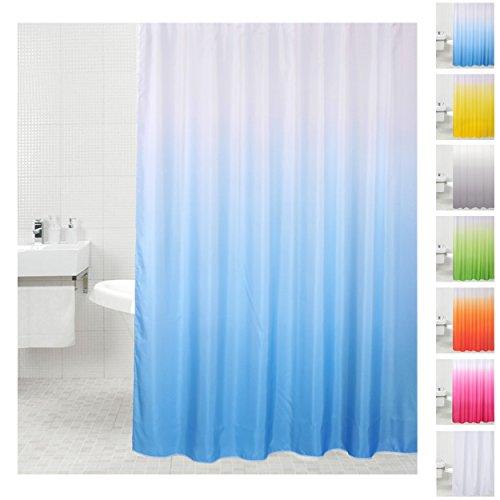 Sanilo Duschvorhang, viele einfarbige Duschvorhänge zur Auswahl, hochwertige Qualität, inkl. 12 Ringe, wasserdicht, Anti-Schimmel-Effekt (180 x 200 cm, Blau)