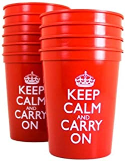 Red Plastic Cups Disposable Cups Party Cups Red Cups Plastic Keep Calm and Carry On Tumblers Pk 10
