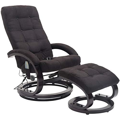 HOMCOM Massagesessel mit Hocker TV Sessel Relaxsessel Fernsehsessel mit Heizfunktion 2 Farben (Schwarz)