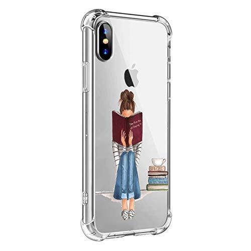 """Oihxse Compatibile per Cover Trasparente iphone X/XS 5.8"""",Custodia iPhone XS/X Silicone Case Ultra Sottile Simpatico Disegno Morbida Protezione a 360 Gradi Slim Case Antiurto Anti-Graffio (Ragazza)"""
