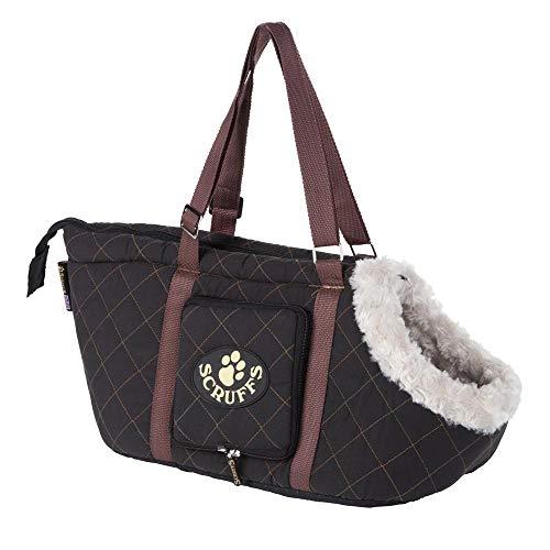 Scruffs Hundetragetasche Wilton Carrier Gr. 38 x 20 x 24 cm Farbe: schwarz, mit Einem kuschelig weichem Plüschbezug und Einem extra Reisenapf