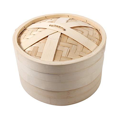Vaporiera per alimenti - 4 dimensioni 2 livelli Cestello per cottura a vapore in bambù Fornello per cottura a riso naturale cinese con coperchio Nuovo(26cm)