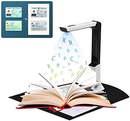 TZUTOGETHER Portátil Escáner de Alta definición, Cámara de Documentos con Escáner De Alta Definición Portátil Ocr En Varios Idiomas Inteligente Tamaño Máximo A4...
