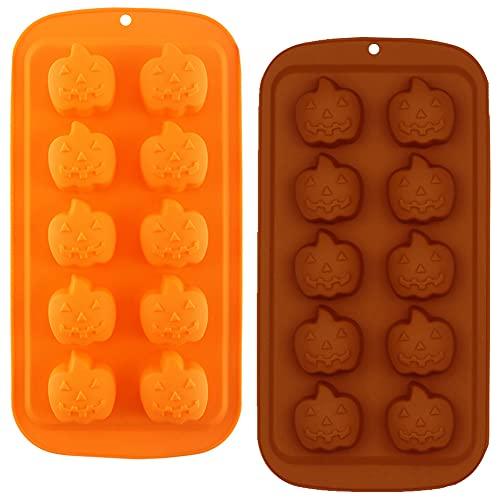 3D Stampo In Silicone Di Zucca Stampo a Candela, 2PCS 10 Fori Strumento per Stampi da Forno per Zucca di Halloween Stampo In Argilla Cioccolato Decorazione Di Torta Stampo Cottura Strumenti Fai Da Te