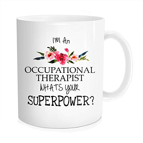 Waldeal Therapist Coffee Mug - I'm An Occupational Therapist What's Your Superpower, Funny Quote Gift OT Therapy Tea Cup, White Fine Bone Ceramic 11 OZ