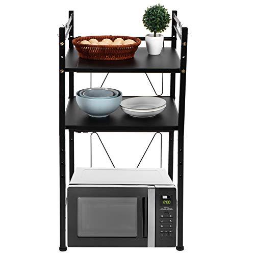 Greensen Küchenregal Standregal Mikrowellenhalter Ausziehbares Bäcker Regal Metallregal Multifunktions Mikrowellen Lagerregal mit 4 Aufbewahrungshaken Haushaltsregal Schwarz 44-65 x 42 x 85,5 cm