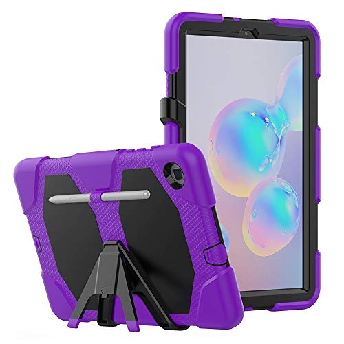 Caja Protectora de la Tableta para Samsung Galaxy Tab S6 Lite P610 a Prueba de Golpes Colorido Silicon + PC Funda Protectora con Soporte y Ranura de bolígrafo (Color : Purple)