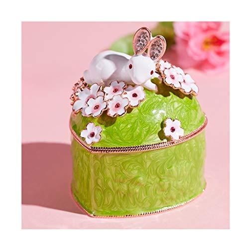 Classical Music Box Caja de joyería lindo conejo de anillo / Pendiente, en forma de corazón caja de música creativa, decoración hogar, la caja del recuerdo de almacenamiento de la muchacha, rosa / ver