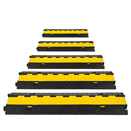 Bisujerro 5X2 Canales Pasacables de Suelo para Cable 30T PasacablesSuelo Protector de Goma para Cables del Suelo con Caucho y PVC (5X2 Canales)