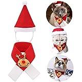 Qkurt, costume natalizio per animali domestici, cappello da Babbo Natale, sciarpa per gatti e cani, cosplay, giorno del Ringraziamento, Natale, Capodanno, vestiti carini e alla moda, Set H., s