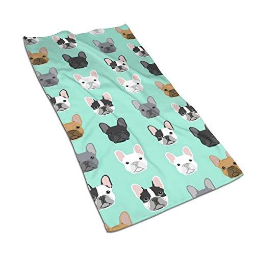 antcreptson French Bulldog Sweet Dog Puppy Puppies Dog Hand Towels 16x30 in, Thin Bathroom Towel, Ultra Soft Highly Absorbent Small Bath Towel Bathroom Decor