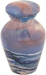 Silverlight Urns Waves Keepsake Urn for Ashes, Blue Aluminum Funeral Urn Seashore Theme, Mini Urn 3 Inches high