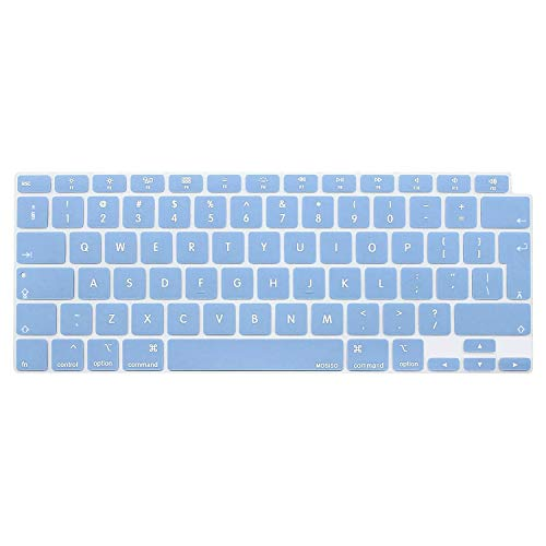 MOSISO Keyboard Cover Only Compatible with MacBook Air 13 inch 2020 Release A2337 M1 A2179 Backlit Magic Keyboard with Retina & Touch ID, Waterproof Dust-Proof Protective Silicone Skin, Airy Blue