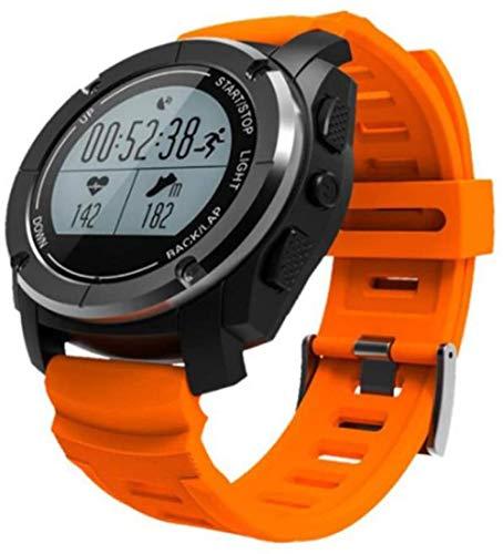 Pulsera de actividad física con monitor de frecuencia cardíaca, resistente al agua, pulsera inteligente de presión arterial, contador de GPS, para mujeres y hombres, color naranja