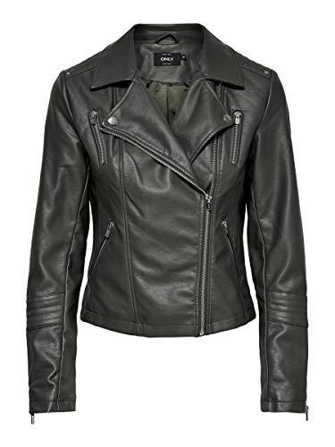ONLY Damen ONLGEMMA Faux Leather Biker OTW NOOS Jacke, Beluga, 42