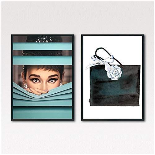 NIESHUIJING Impresi/ón en Lienzo Negro Blanco Audrey Hepburn Arte de la Pared Lienzo Pintura Carteles e Impresiones Cuadro de la pared-50x70cm Sin Marco