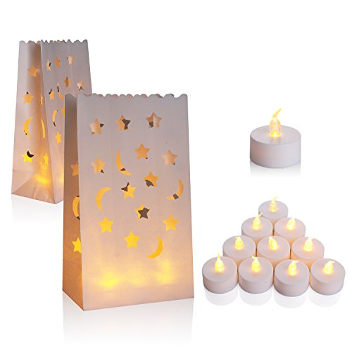 AceList 30 Set Luminaries Bag with Candles Flameless Tea Lights for Wedding Party Decoration