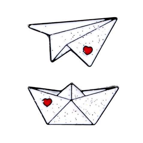 Miniblings 2 broches de papel para barco de avión, de mar, mar, mar, barco, avión, origami