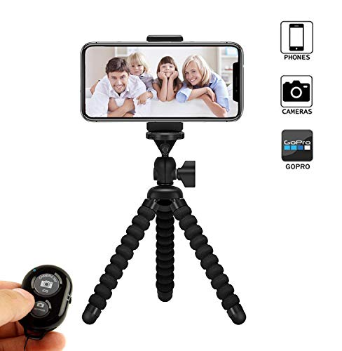 Phone Tripod, Vennke Flexible Phone/Camera Tripod Mount Stand Holder with Wireless Remote Shutter and Universal Clip, Compatible with iPhone, Android Phone, Camera and GoPro (2019 Upgraded)