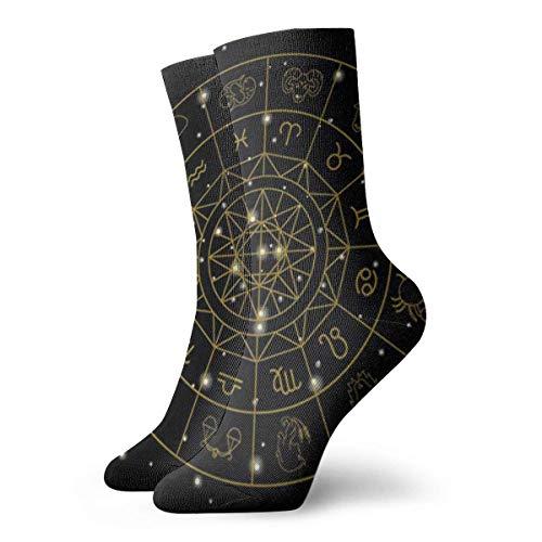 BEDKKJY Crew Sokken Zodiac Tekenen Symbolen Inspirerende Mens Jurk Stocking Gift Sock voor Vrouw