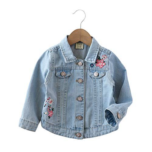 PanpanBox Vaquero Chaqueta para Niñas Bordado Flores Abrigo Bebé Jeans Jacket Casual Denim Coat 1-7 años (110 cm / 3-4 años)