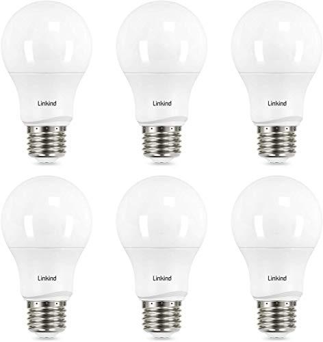 Linkind Dimmable A19 LED Light Bulbs, 60 Watt Equivalent, E26 Base, 2700K Soft White, 9.5W 800 Lumens CRI80+ 120V, UL Listed FCC Certified, Energy Star, Pack of 6