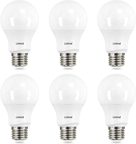 Linkind Dimmable A19 LED Light Bulbs, 60 Watt Equivalent, E26 Base, 2700K Soft White, 9.5W 800 Lumens CRI80+ 120V, UL Listed FCC Certified, Pack of 6