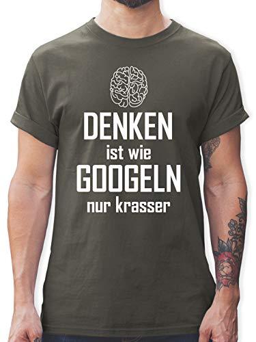 Sprüche - Denken ist wie Googeln nur krasser - L - Dunkelgrau - männer Geschenke - L190 - Tshirt Herren und Männer T-Shirts