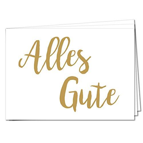 TYSK Design Postkarten Alles Gute - 10 Postkarten Gold Karte Deko Geburtstag Gruß Glückwunsch Danke Hochzeit Liebe Kindergeburtstag