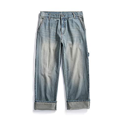 Pantalones Vaqueros nostálgicos Retro de Gran tamaño para Hombre, decoración de Bolsillo con Costuras a la Moda, Pantalones Harem de Pierna Ancha y Rectos Sueltos L