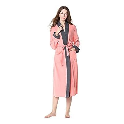 Women's Robe Lightweight Striped Sleepwear Cotton Robe Long Sleeve Woven Bathrobe