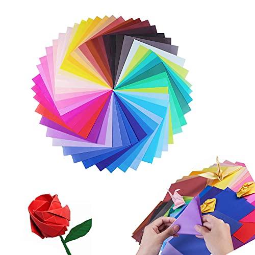 Papel Papiroflexia, 200 Pcs Papel de Origami de Colores, Papel de Origami Cuadrado, Papel Origami 20x20 para Decoracion de Fiesta de Inicio de Juguete de Los Ninos