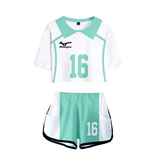 Set 3D T-Shirt & Short Haikyuu!! Aoba Johsai High School Anime Sports Shorts Tshirt pour Femmes Filles XXL