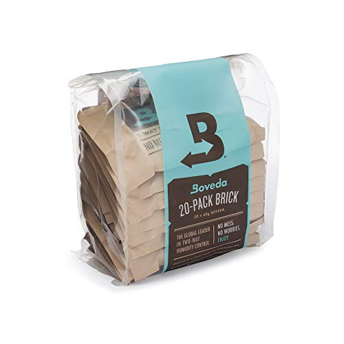 Boveda for Cigars/Tobacco | 72% RH 2-Way Humidity Control | Size 60 for Use with Every 25 Cigars a Humidor Can Hold | Patented Technology for Cigar Humidors | 20-Count Reclosable Bag