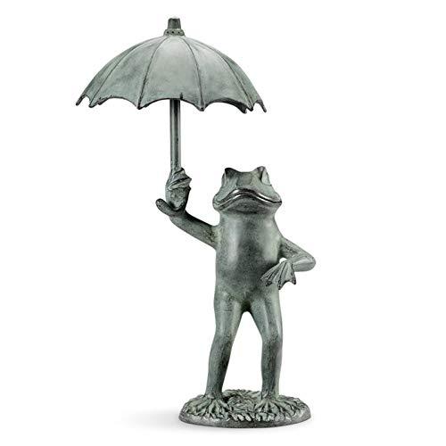 DIMOLET Tiere Gartendeko Frosch-Gartenstatuen Kreative Frosch Regenschirm Willkommens-Skulpturen für Terrasse, Hof, Gartendekoration