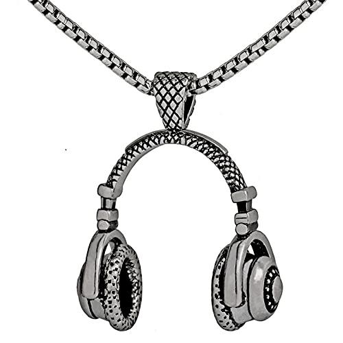 Auriculares De Música Auricular Colgante Personalidad Moda Hombres Collar Plata