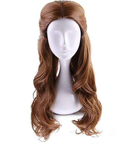 Deifor Long Brown Wavy Synthetic Hair with Braid Updo Buns Wig for Women Kid Cosplay Wigs (Light Brown)