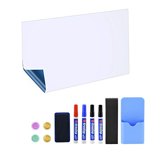 lavagna magnetica adesiva da parete POPRUN 90 x 60cm Lavagna bianca adesiva Magnetica cancellabile a secco con 4 pennarelli per lavagna bianca