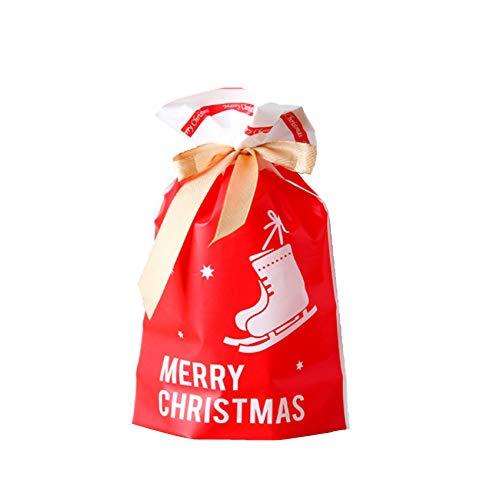Shengruili 50 Stücke Weihnachten Geschenkbeutel mit Kordelzug,Geschenkverpackung Taschen,Süßigkeiten Taschen,Geschenkbeutel mit Kordelzug,Tüten für Kekse und Schokolade,Tüten für Weihnachten