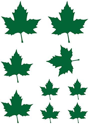 Samunshi® Aufkleber Ahornblätter Set Folienaufkleber 5-10cm grasgrün