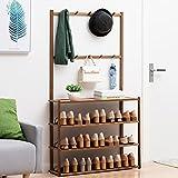 LMAMZ Vertical Zapatero de Bambú, 4 Niveles Organizador de Zapatos Perchero Versátil, Fuerte y Robusto, EstanterÍa Ahorrar Espacio para Entrada Salón Dormitorio Baño Pasillo,Marrón