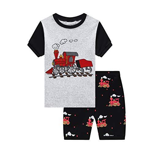 Little Boys Pajamas Short Set for Toddler Summer Clothes Train Dinosaur Sleepwear Cotton 2 Piece Kids Pjs Size 1-10 Years