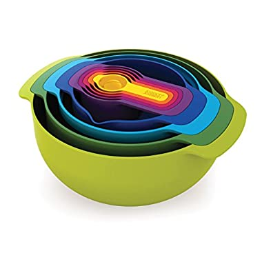 Joseph Joseph 40031 Nest 9 Nesting Bowls Set with Mixing Bowls Measuring Cups Sieve Colander (9 Piece), Multicolor