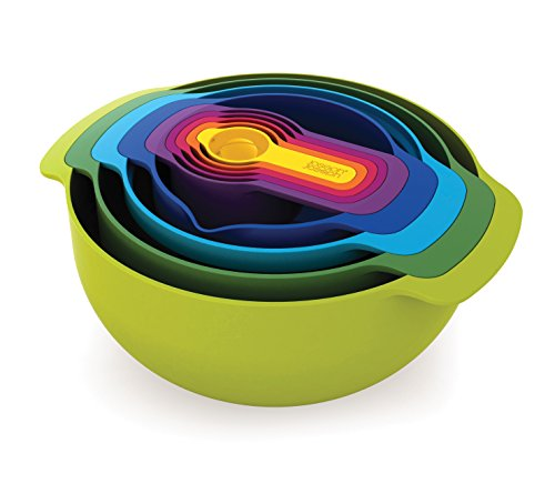 Joseph Joseph Nest 9 Nesting Bowls Set with Mixing Bowls Measuring Cups Sieve Colander, 9-Piece, Multicolored