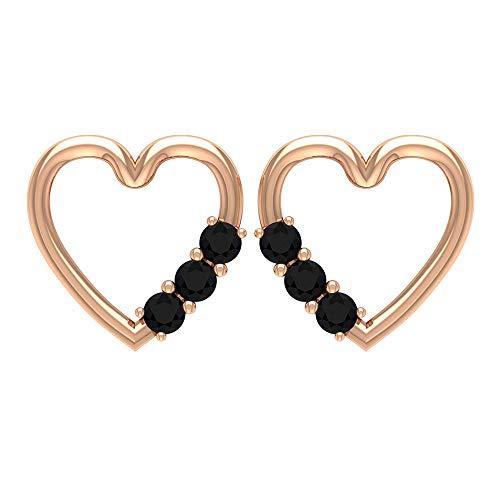 Pendientes de diamante negro con certificado SGL de 0,18 ct, con diseño de corazón abierto, tres pendientes de piedra para mujeres, 14K Oro rosa, Par