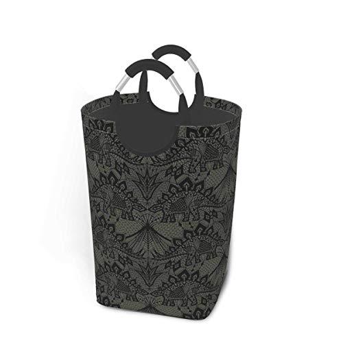 Cesto de almacenamiento para ropa sucia, diseño de Stegosaurus, encaje, color negro, gris, grande, plegable, para ropa sucia, juguetes, libros