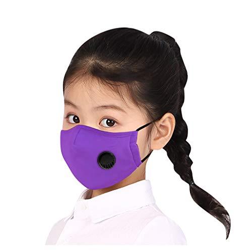 Supertong Kleinkinder Kinder Baumwolle Einfarbige Mundschutz Tägliche Pflege Staubdicht Gesichtsschutz Wiederverwendbar Waschbar Atmungsaktiv Face Shield mit Atemventil (Lila)